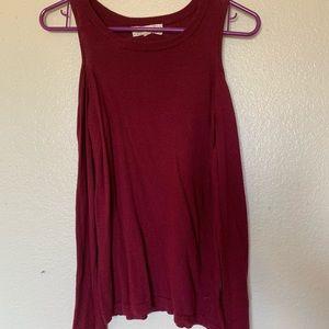 Long sleeve, cold shoulder burgundy top